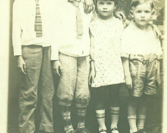 RPPC Siblings Friends Boys Girl Brothers Sister Portrait 1930s Real Photo Postcard Antique Vintage Black White Photo Photograph