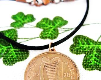 1928 Free State IRISH Half Penny  Irish Coin  Necklace