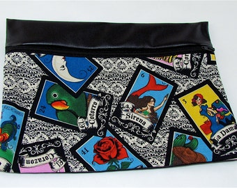 CLUTCH - Loteria (Pleather/ Cotton) **handmade**Kindle**iPad mini** Case**