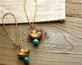 bird totem earrings || handmade bronze beads, turquoise, agate stones