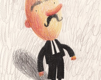Mr. Important Potato / ORIGINAL PENCIL ILLUSTRATION / Children illustration / Character design / Mustache / Suit and a tie
