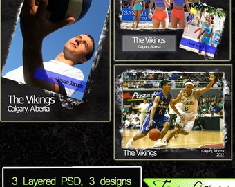 Sports Photoshop Templates Instant Download PSD Collage Team Club Coach and Individual Layouts Set 6