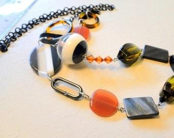 SALE Asymmetrical Long Art Deco Necklace Plastic Beads Black Metal Chain OOAK