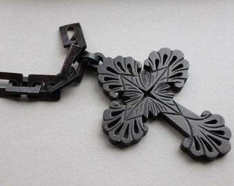 Large Victorian Carved Vulcanite Mourning Cross Pendant
