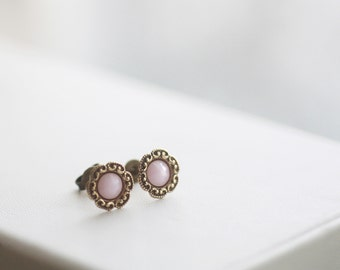 Rosewater - Vintage Style Small Stud Floret Earrings with Gold Filled Posts