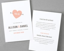Printable Wedding Program Template   Instant DOWNLOAD   Heart   Folded 5x7   Mac or PC - Pages or Word   Easy DIY   Editable Artwork Colors