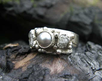 Rough Diamonds and Pearl Ring