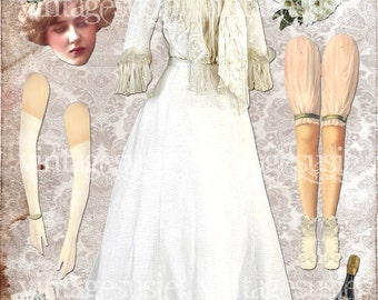 Vintage Victorian Bride Art Paperdoll Collage Sheet '1890 BRIDE' Here Comes The BRIDE Series Digital Download