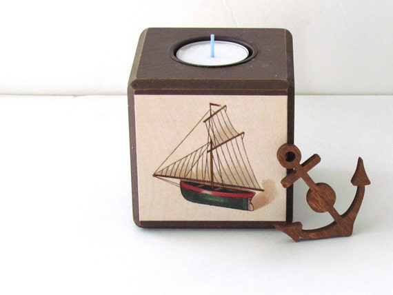 Vintage sailboat tea light holder nautical brown by waltersilva - Sailboat tealight holders ...