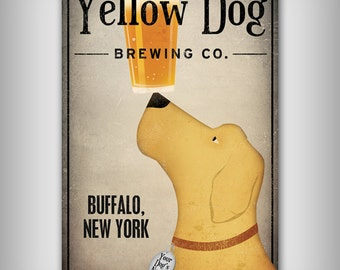 FREE PERSONALIZATION Black Brown Yellow Red Dog Brewing Company Gallery Wrapped Stretched Canvas