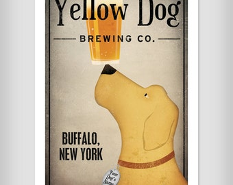 FREE PERSONALIZATION Custom Yellow Brown Black Dog Brewing Company graphic art giclee print SIGNED Black Dog