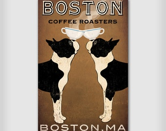 Custom PERSONALIZED BOSTON Terrier dog Coffee Co Sign Gallery Wrapped Canvas Wall Art Ready-to-Hang