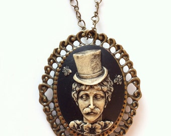 Hand Painted Deadman Cameo Pendant Necklaces