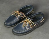 Navy Blue Leather Boat Sh...