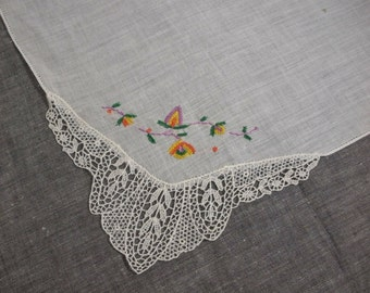 Vintage White Hanky with Lace & Petit Point Embroidery