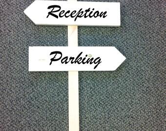 Wedding directional wooden wedding signs/Custom wedding signs on 4ft stake/natural wood wedding sign