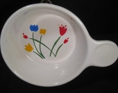 Tulips Individual Crock, Tab Handle Bowl, Marimekko style, 1970s, on Etsy by TheRetroLife