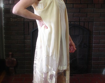 Vintage Nouveau Long Vest with Fringe 1900s 1920s Lounge Over Dress with amazing lace trim - on sale