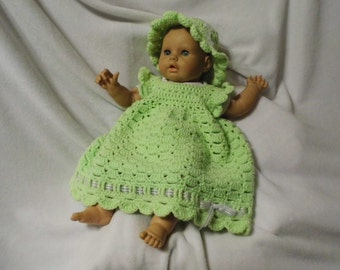 Bright Spring Green Dress and Hat Set size 12 months 18 months