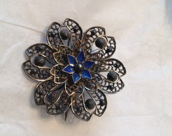 Silver Filigree Blue Enamel Flower Brooch