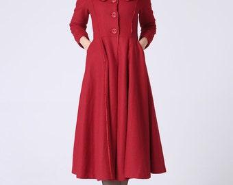Red cashmere coat winter coat warm women coat (1065)