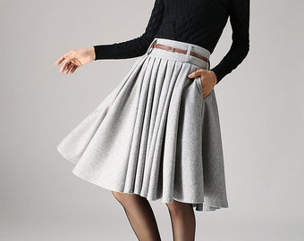 50s skirt, knee length skirt,wool skirt,winter skirt, grey skirt,midi skirt with pockets, pleated skirt, pocket skirt, plus size skirt 1097