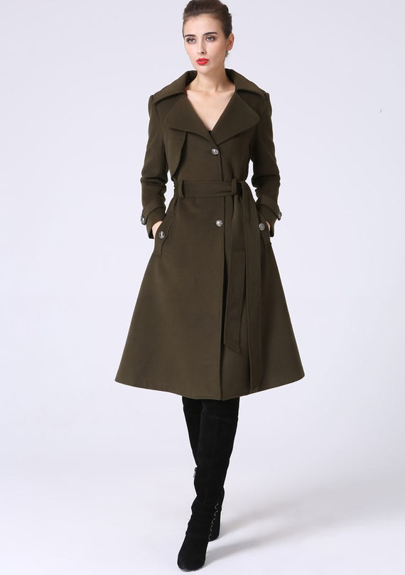 Trench coat military coat winter coat women army green