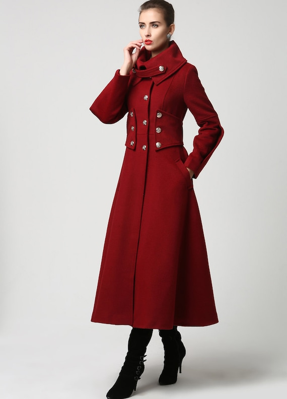 Red wool coat Long coat military Coat maxi coat Womens by xiaolizi