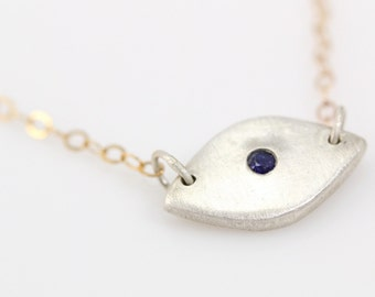 Sterling Silver and Gold Eye Necklace- Set with 2mm blue sapphire, brushed silver, 14K gold chain