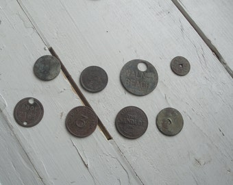 Vintage Token Coins Copper Brass
