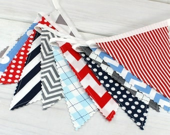 Bunting Banner, Photography Prop, Fabric Flags, Nursery Decor - Red, Gray, Navy Blue, Light Blue, Chevron, Dots, Gingham