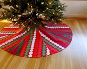 Marimekko Christmas tree skirt with red/green/white bubble pattern