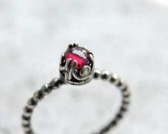 Ruby ring sterling silver. Genuine ruby precious gemstone ring, made to order ring. Stacking ring. Red gemstone ring.