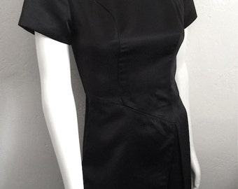 Vintage Women's 80's Dress, Black, Formal, Polyester, Full Length, Gown (S)