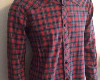 Vintage Men's 80's Shirt, Red, Long Sleeve, Plaid, Button Up (M)