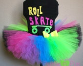 80's Neon Roller Skate Tutu Birthday Party Set