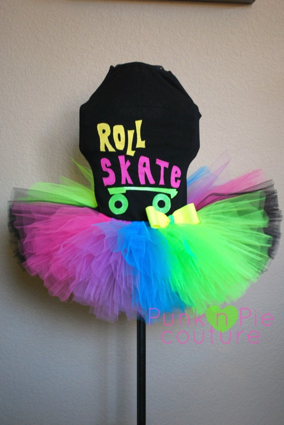 80 S Neon Roller Skate Tutu Birthday Party Set By