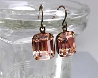 Blush Light Peach Swarovski Earrings Bridesmaid Bridal Vintage Rhinestones