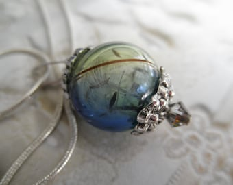 Dandelion Seed Heaven & Earth Spiritual Ombre Blue-Green Terrarium Reliquary Pendant-Gifts For 30-Nature's Wearable Art-Symbolizes Happiness
