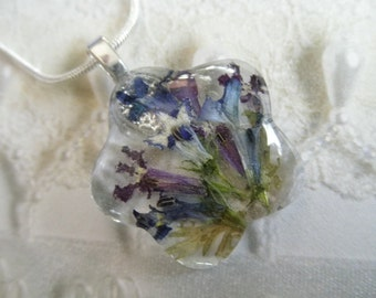 Blue, Purple White Lobelia Glass Flower Shaped Pressed Flower Pendant-Symbolizes Loyalty-Summer Garden-Nature's Wearable Art-Gifts for 25