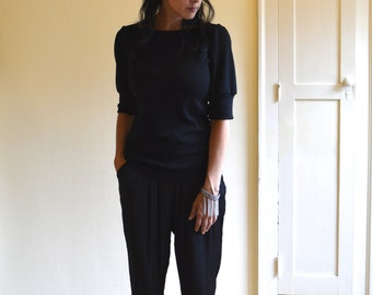 Black Sweater Top, Merino Wool Jersey, Puff Sleeves, Classic Look- Made to order