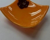 Marigold yellow fused glass sushi candy dish with red flower