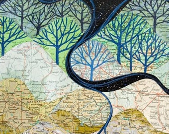The Rivers Know art print, map collage of mountains, rivers and starry sky