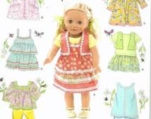 Uncut, 18 inch doll clothes, Simplicity 2296, fits American Girl, Dress, Bolero, Pants, Shirt, Tunic, Top, Vest, Camisole, Jumper, Skirt