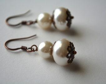 Ivory Copper Earrings Glass Pearl Dangle Earrings Beaded