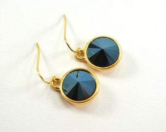 Metallic Blue Dangle Earrings Gold Drop Earrings Dark Blue Jewelry Midnight Night Sky