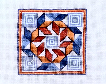 Vintage Geometric Embroidery - Vintage Needlepoint geometry diamonds Handmade cross stitch embroidery square sewing tapestry,  7x7 IN