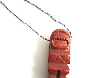 Vintage 70's surfer's wood TIKI Pendant. Made in Hawaii 1970's. Dude.  Made by Mike's Monkeypod, wood carving & Jewelry.