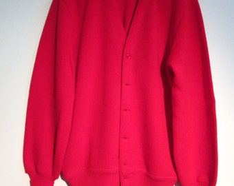 Jantzen Golf Cardigan Sweater.  Vintage 1960.  Size Medium.  Red.  Made in USA.  Pure Virgin Wool.