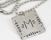 Personalized Necklace for Men - Dads family necklace - father's day gift - monogram necklace - Children's Names - Dog Tag Style